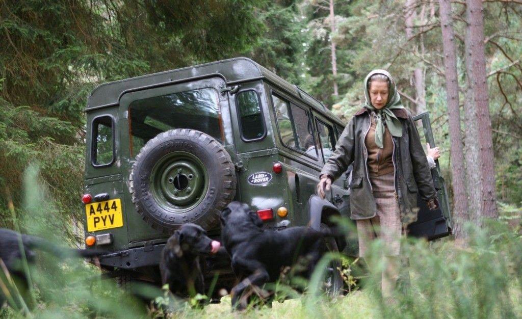The Queen of the UK with her Land Rover Defender